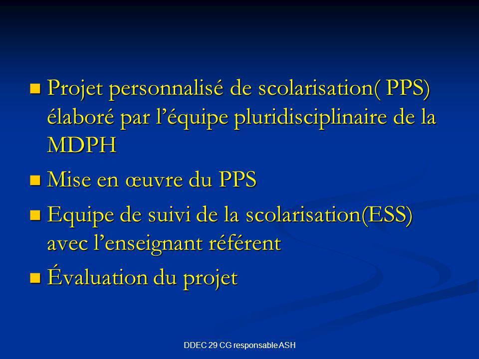 DDEC 29 CG responsable ASH Projet personnalisé de scolarisation( PPS) élaboré par l'équipe pluridisciplinaire de la MDPH Projet personnalisé de scolarisation( PPS) élaboré par l'équipe pluridisciplinaire de la MDPH Mise en œuvre du PPS Mise en œuvre du PPS Equipe de suivi de la scolarisation(ESS) avec l'enseignant référent Equipe de suivi de la scolarisation(ESS) avec l'enseignant référent Évaluation du projet Évaluation du projet