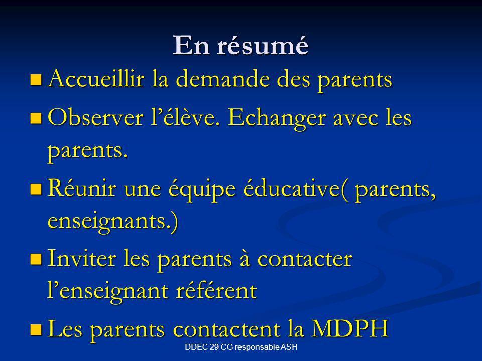DDEC 29 CG responsable ASH En résumé Accueillir la demande des parents Accueillir la demande des parents Observer l'élève.