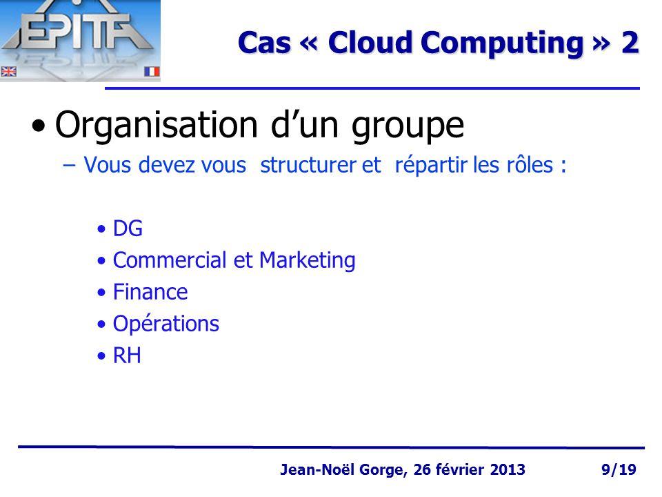Page 10 Jean-Noël Gorge 3 mai 1999 10/58 Jean-Noël Gorge, 26 février 2013 10/19 Cas « Cloud Computing » 3 Première approche du « produit/service » –C'est quoi .