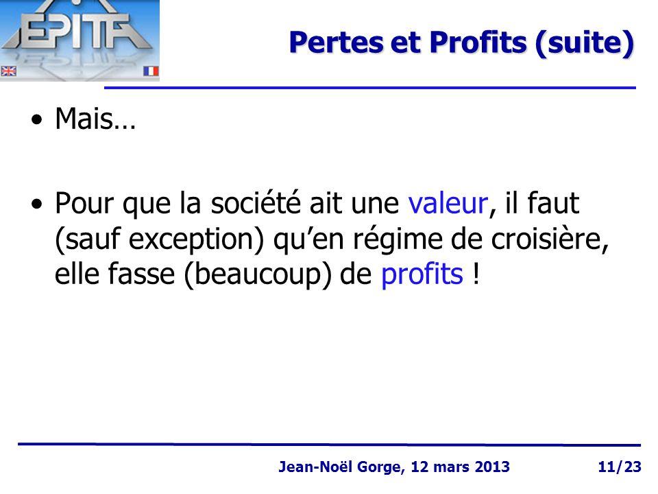 Page 11 Jean-Noël Gorge 3 mai 1999 Jean-Noël Gorge, 12 mars 2013 11/23 Pertes et Profits (suite) Mais… Pour que la société ait une valeur, il faut (sauf exception) qu'en régime de croisière, elle fasse (beaucoup) de profits !