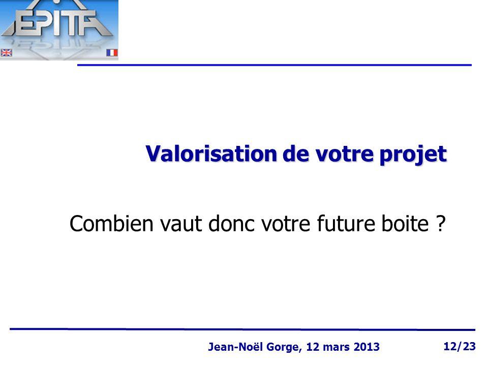 Page 12 Jean-Noël Gorge 3 mai 1999 12/58 Jean-Noël Gorge, 12 mars 2013 12/23 Valorisation de votre projet Combien vaut donc votre future boite