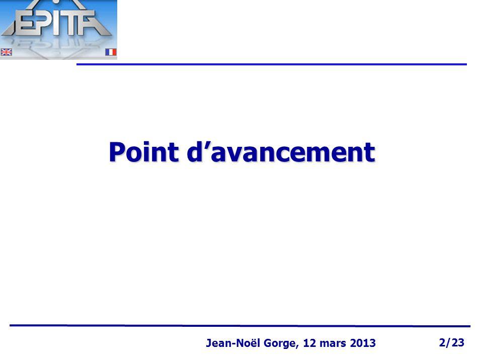 Page 2 Jean-Noël Gorge 3 mai 1999 2/58 Jean-Noël Gorge, 12 mars 2013 2/23 Point d'avancement