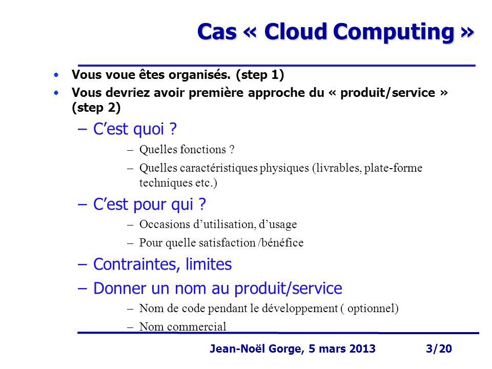 Page 3 Jean-Noël Gorge 3 mai 1999 3/58 Jean-Noël Gorge, 5 mars 2013 3/20 Cas « Cloud Computing » Vous voue êtes organisés. (step 1) Vous devriez avoir