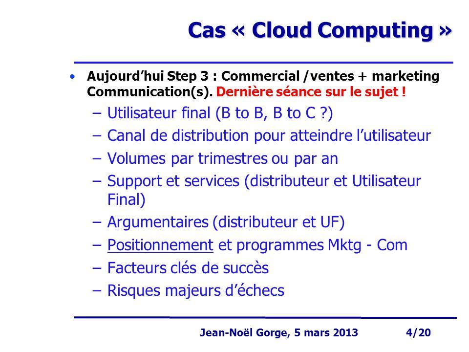 Page 4 Jean-Noël Gorge 3 mai 1999 4/58 Jean-Noël Gorge, 5 mars 2013 4/20 Cas « Cloud Computing » Aujourd'hui Step 3 : Commercial /ventes + marketing C
