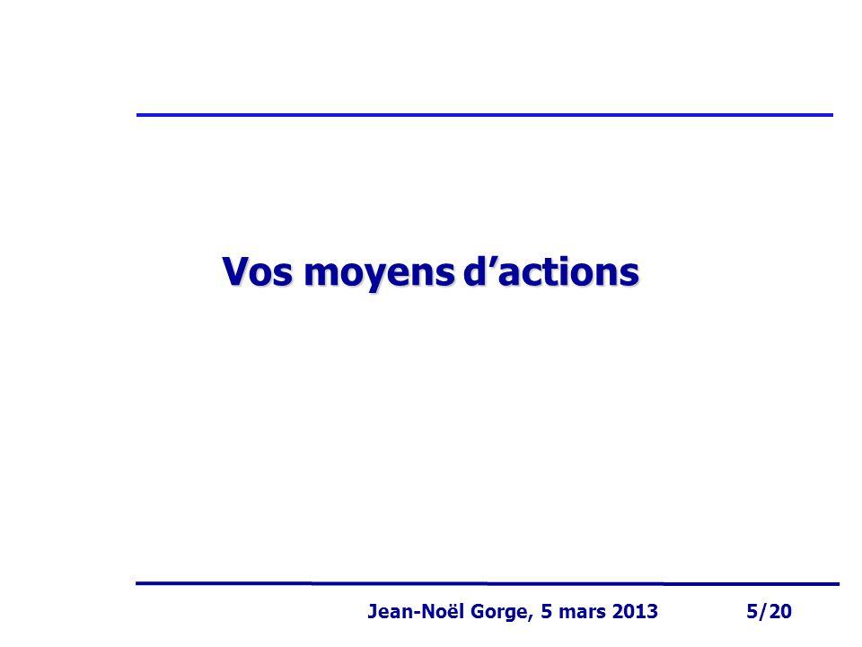 Page 5 Jean-Noël Gorge 3 mai 1999 5/58 Jean-Noël Gorge, 5 mars 2013 5/20 Vos moyens d'actions