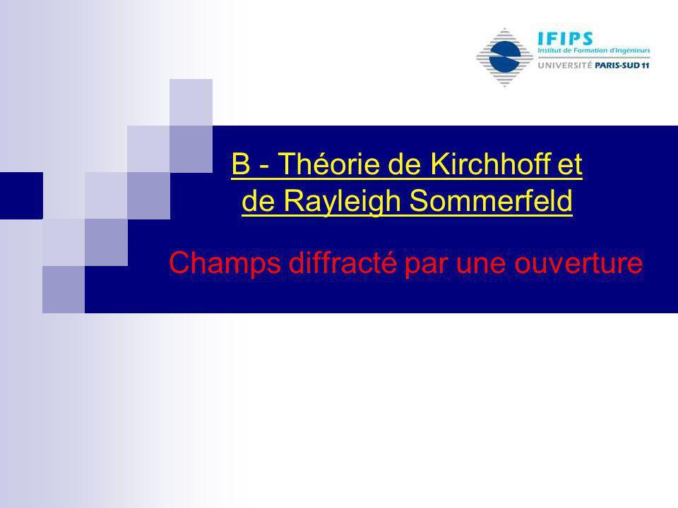 Champs diffracté par une ouverture B - Théorie de Kirchhoff et de Rayleigh Sommerfeld