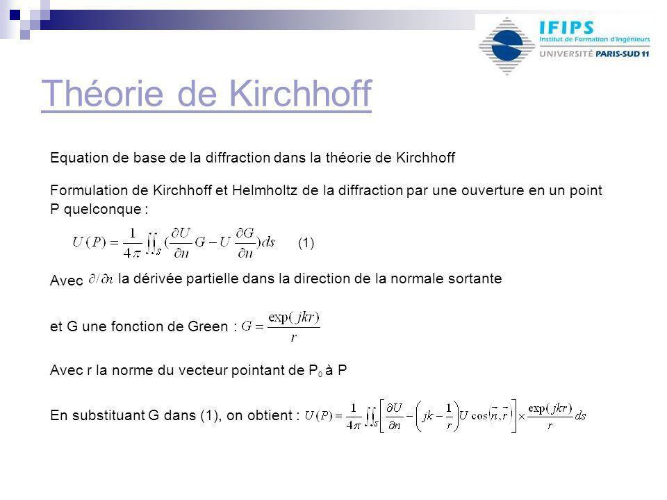 Théorie de Kirchhoff Equation de base de la diffraction dans la théorie de Kirchhoff Avec la dérivée partielle dans la direction de la normale sortante et G une fonction de Green : Avec r la norme du vecteur pointant de P 0 à P Formulation de Kirchhoff et Helmholtz de la diffraction par une ouverture en un point P quelconque : (1) En substituant G dans (1), on obtient :