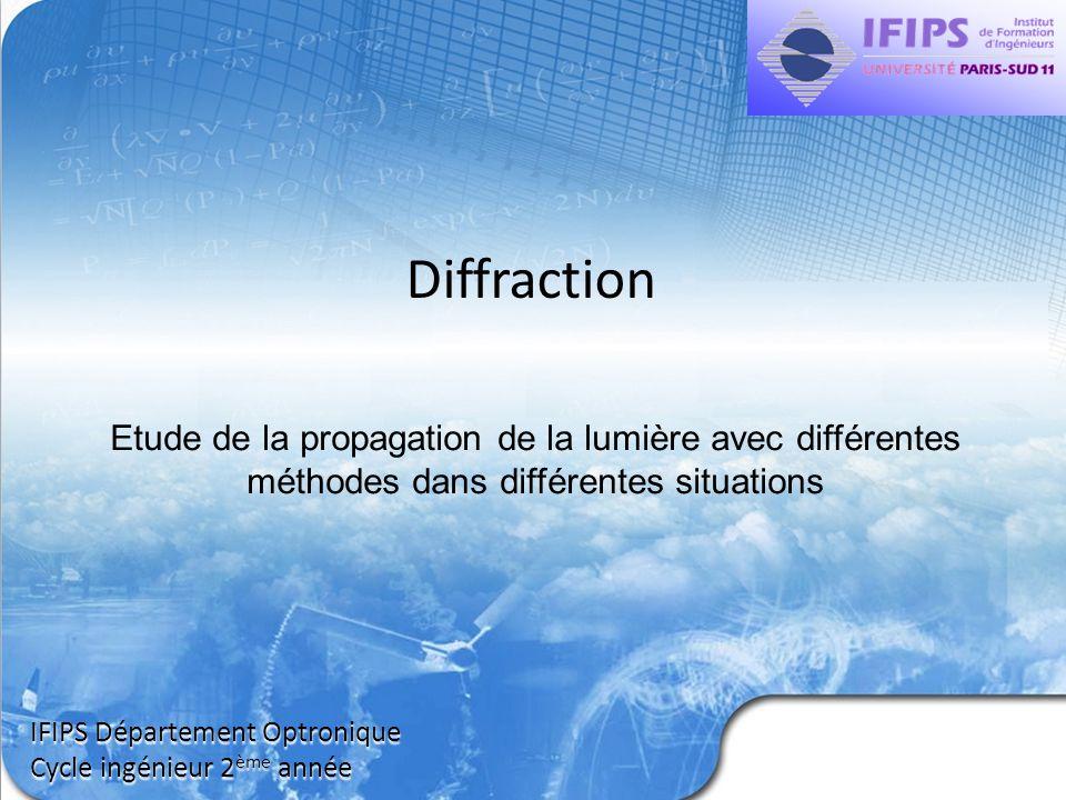 Diffraction IFIPS Département Optronique Cycle ingénieur 2 ème année Etude de la propagation de la lumière avec différentes méthodes dans différentes
