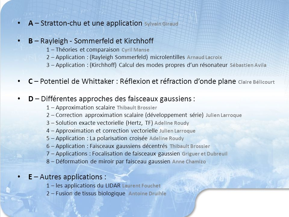 A – Stratton-chu et une application Sylvain Giraud B – Rayleigh - Sommerfeld et Kirchhoff 1 – Théories et comparaison Cyril Manse 2 – Application : (R