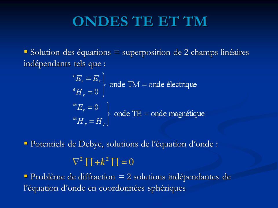 ONDES TE ET TM  Solution des équations = superposition de 2 champs linéaires indépendants tels que :  Potentiels de Debye, solutions de l'équation d'onde :  Problème de diffraction = 2 solutions indépendantes de l'équation d'onde en coordonnées sphériques