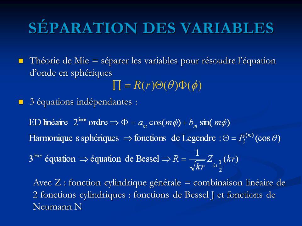 SÉPARATION DES VARIABLES Théorie de Mie = séparer les variables pour résoudre l'équation d'onde en sphériques Théorie de Mie = séparer les variables pour résoudre l'équation d'onde en sphériques 3 équations indépendantes : 3 équations indépendantes : Avec Z : fonction cylindrique générale = combinaison linéaire de 2 fonctions cylindriques : fonctions de Bessel J et fonctions de Neumann N
