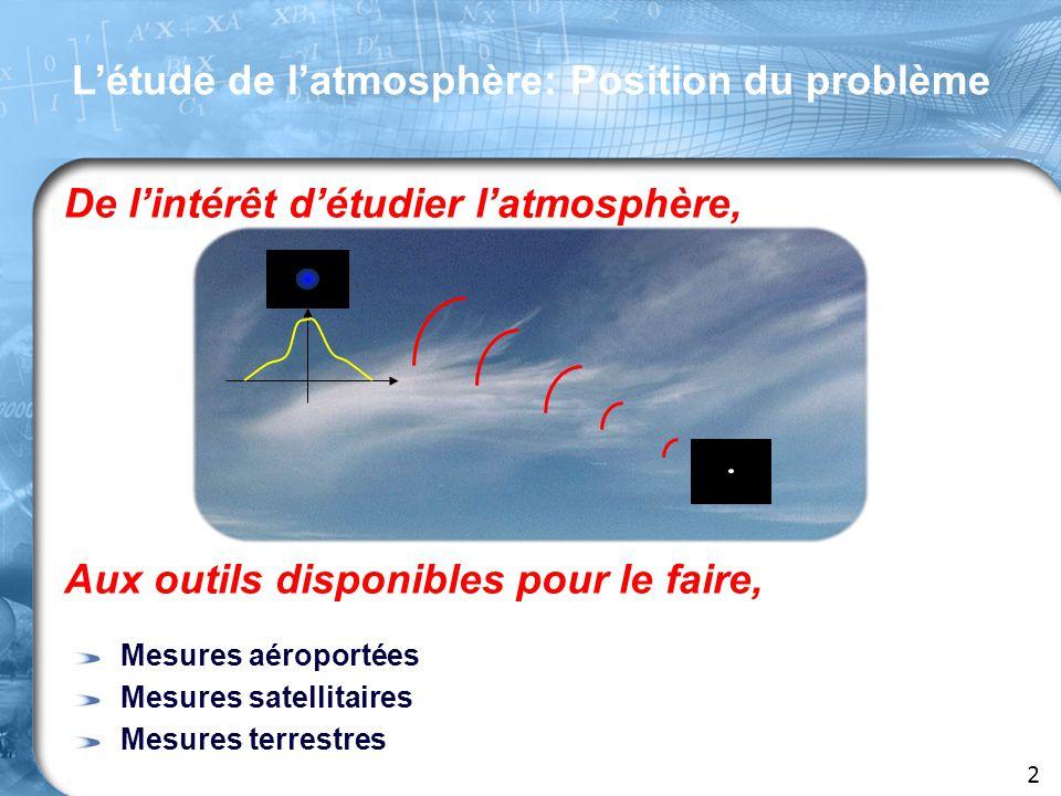 De l'intérêt d'étudier l'atmosphère, Aux outils disponibles pour le faire, Mesures aéroportées Mesures satellitaires Mesures terrestres 2 L'étude de l'atmosphère: Position du problème