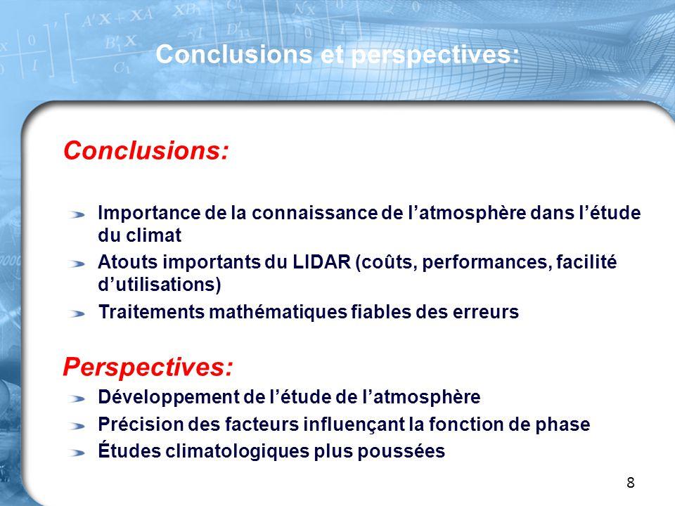 Conclusions: Importance de la connaissance de l'atmosphère dans l'étude du climat Atouts importants du LIDAR (coûts, performances, facilité d'utilisations) Traitements mathématiques fiables des erreurs Perspectives: Développement de l'étude de l'atmosphère Précision des facteurs influençant la fonction de phase Études climatologiques plus poussées Conclusions et perspectives: 8
