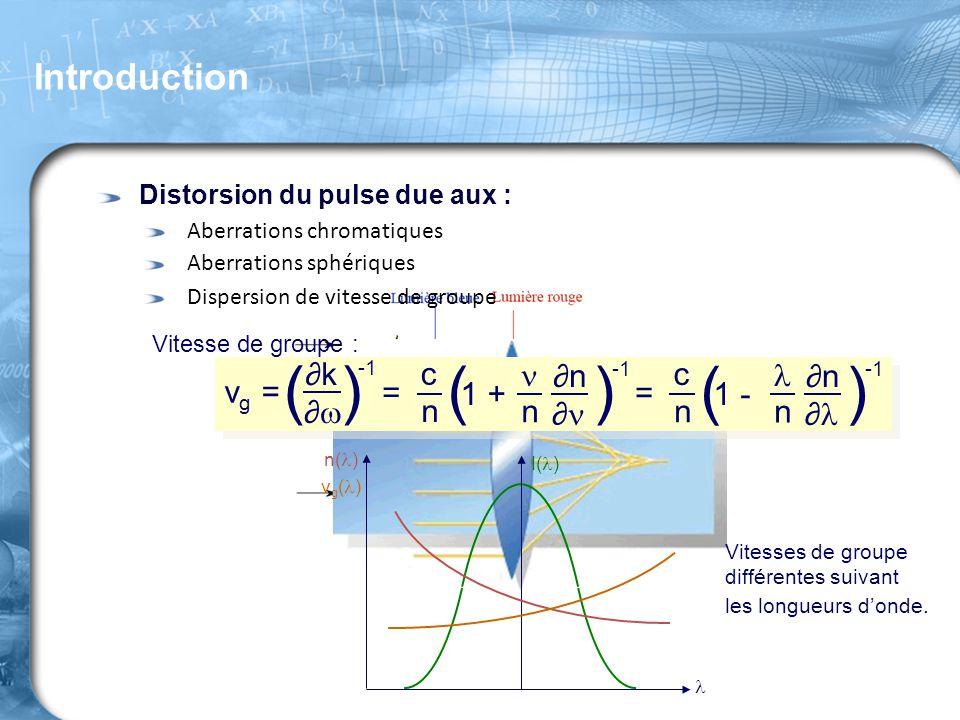 Distorsion du pulse due aux : Aberrations chromatiques Aberrations sphériques Dispersion de vitesse de groupe Vitesse de groupe : v g = ( ) ∂k∂k ∂∂
