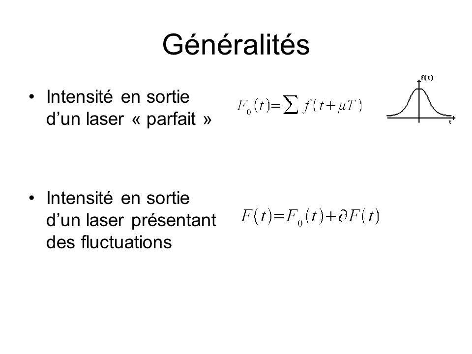 Généralités Intensité en sortie d'un laser « parfait » Intensité en sortie d'un laser présentant des fluctuations