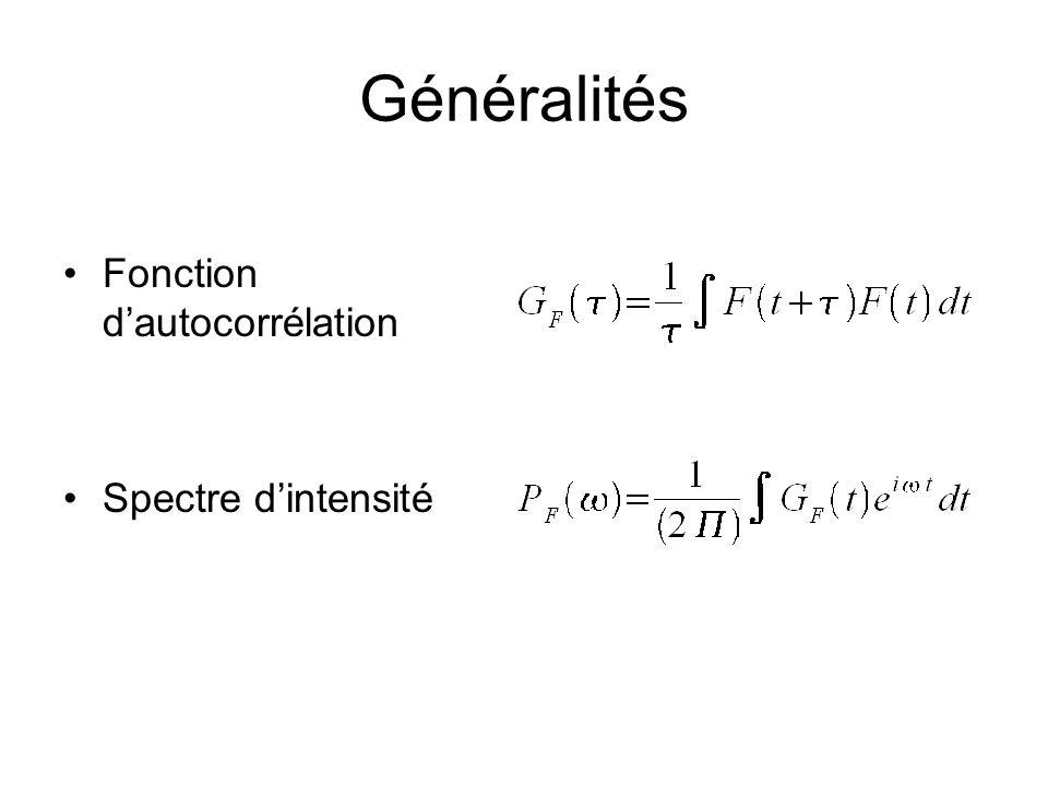 Généralités Fonction d'autocorrélation Spectre d'intensité