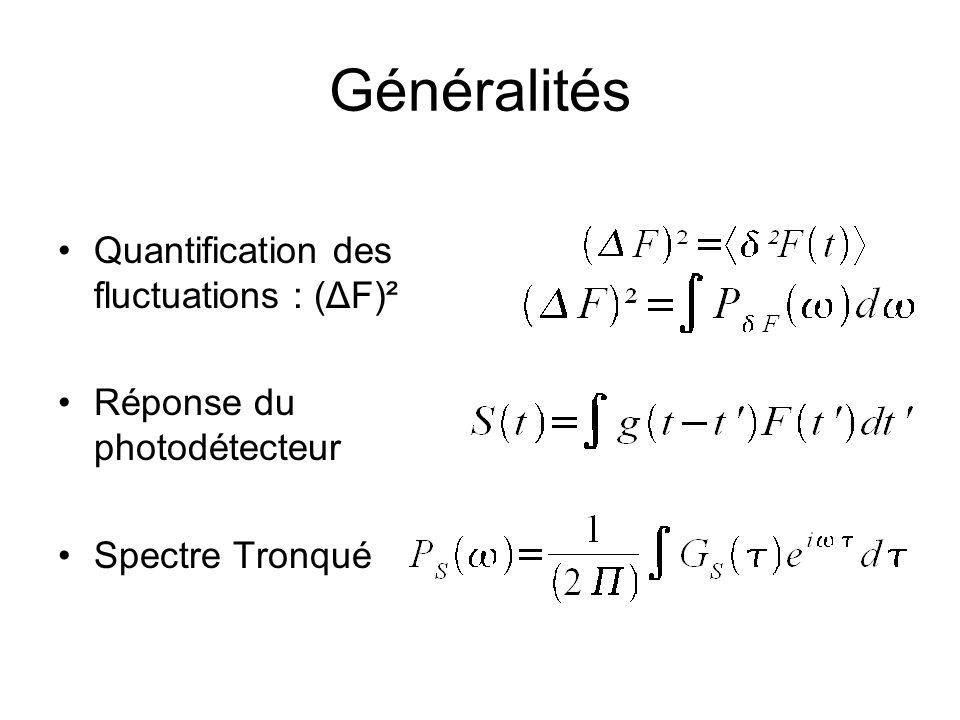 Généralités Quantification des fluctuations : (ΔF)² Réponse du photodétecteur Spectre Tronqué