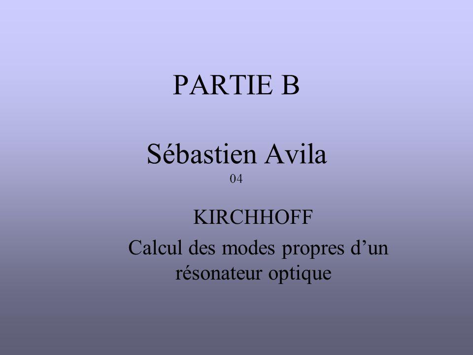 PARTIE B Sébastien Avila 04 KIRCHHOFF Calcul des modes propres d'un résonateur optique