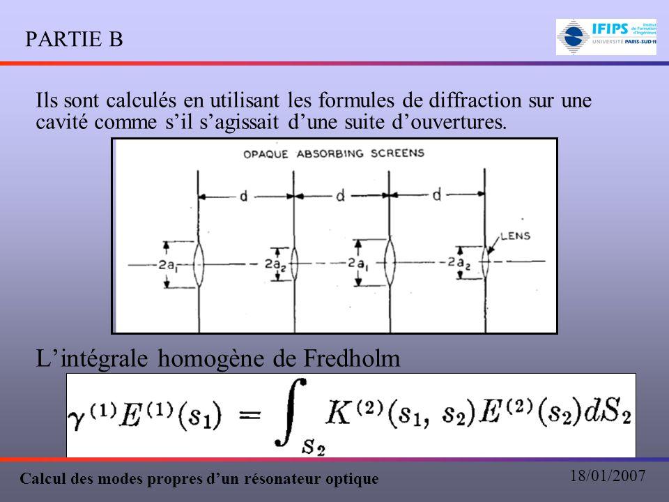 PARTIE B Ils sont calculés en utilisant les formules de diffraction sur une cavité comme s'il s'agissait d'une suite d'ouvertures.