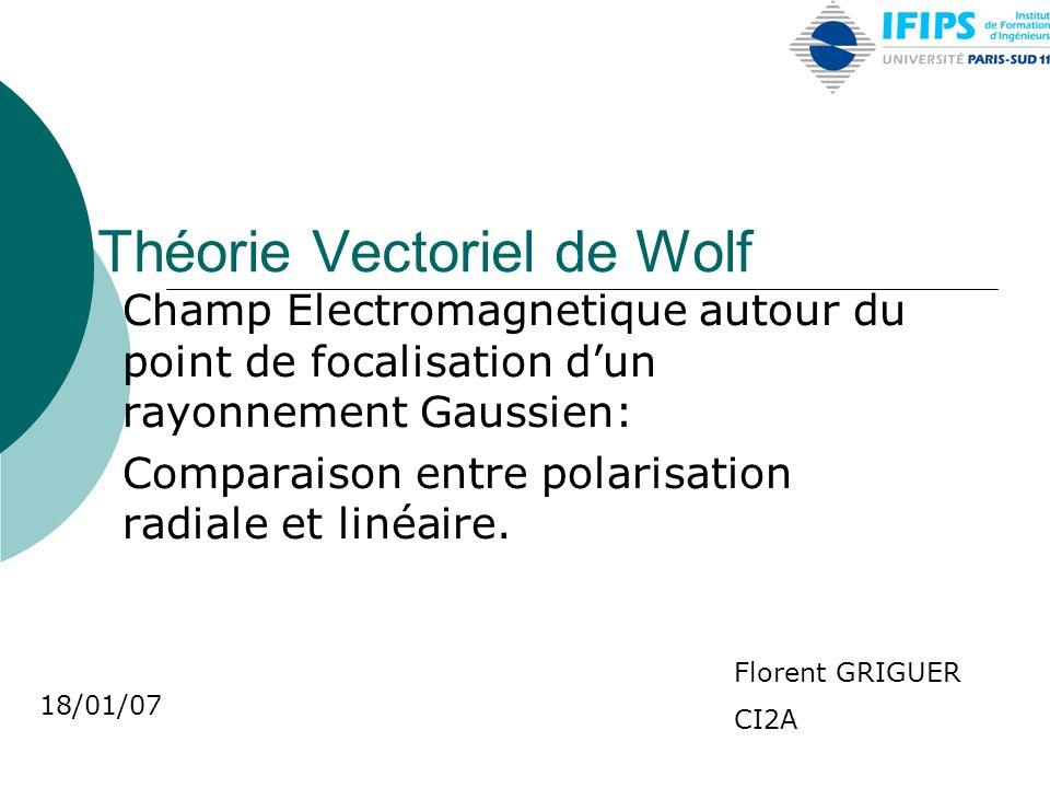 Théorie Vectoriel de Wolf Champ Electromagnetique autour du point de focalisation d'un rayonnement Gaussien: Comparaison entre polarisation radiale et