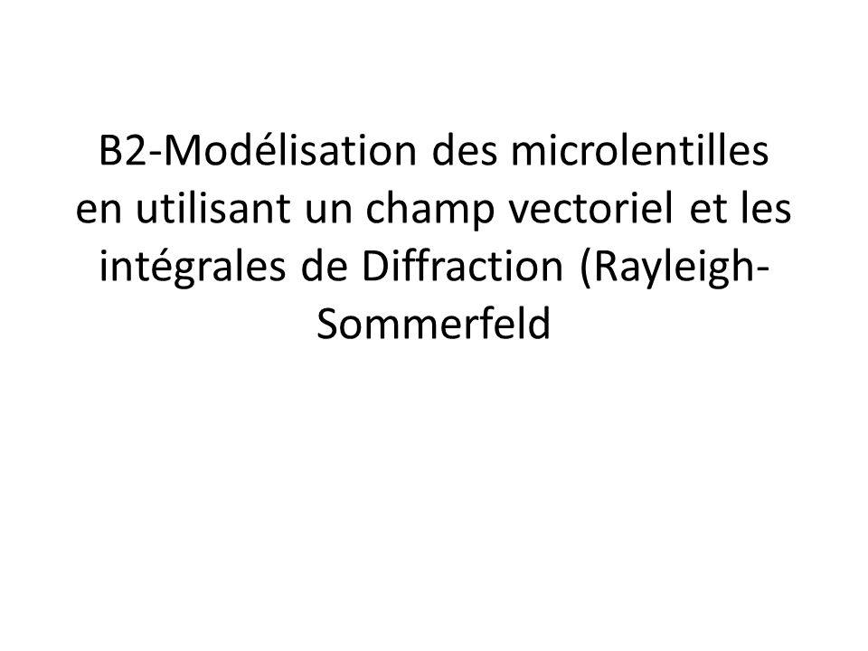 Différences par rapport aux lentilles Traditionnelles La taille : – Caractérisée par un petit f/#(f/D) où est f est la distance focale et # ou D est l'ouverture – Aussi par un petit Nombre de Fresnel N=D²/λπ4f<10 La caractérisation du champ – Les « grandes lentilles » utilisent l'approximation paraxiale – Ici on décrit le champ au passage de chaque interface et on prend en compte la courbure de celle-ci.