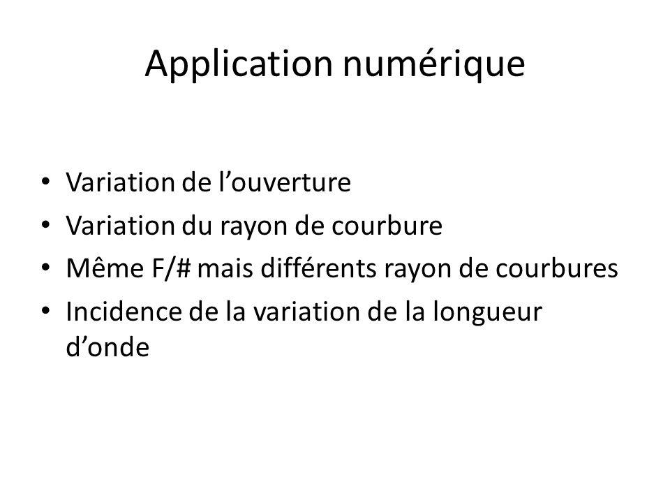 Application numérique Variation de l'ouverture Variation du rayon de courbure Même F/# mais différents rayon de courbures Incidence de la variation de la longueur d'onde