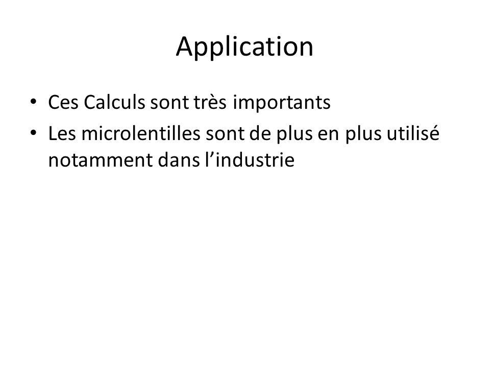 Application Ces Calculs sont très importants Les microlentilles sont de plus en plus utilisé notamment dans l'industrie