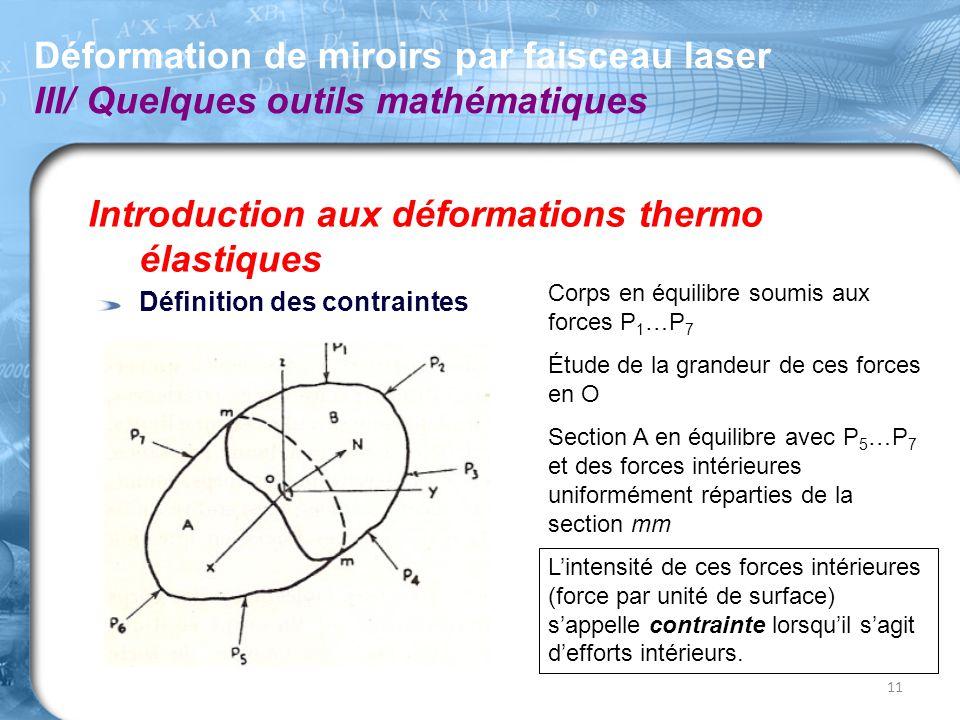 Introduction aux déformations thermo élastiques Définition des contraintes Déformation de miroirs par faisceau laser III/ Quelques outils mathématique