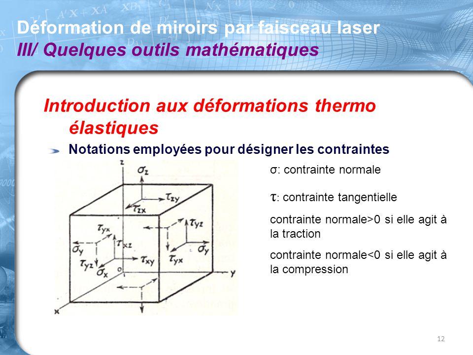 Introduction aux déformations thermo élastiques Notations employées pour désigner les contraintes Déformation de miroirs par faisceau laser III/ Quelq