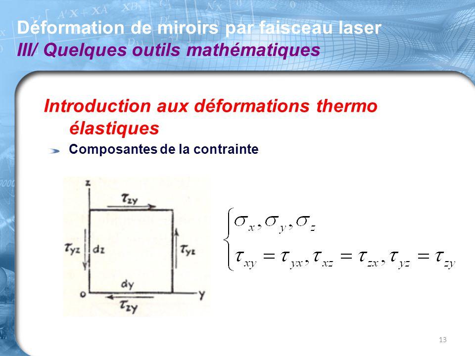 Introduction aux déformations thermo élastiques Composantes de la contrainte Déformation de miroirs par faisceau laser III/ Quelques outils mathématiq