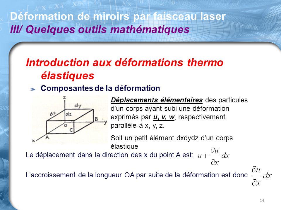 Introduction aux déformations thermo élastiques Composantes de la déformation Le déplacement dans la direction des x du point A est: L'accroissement d