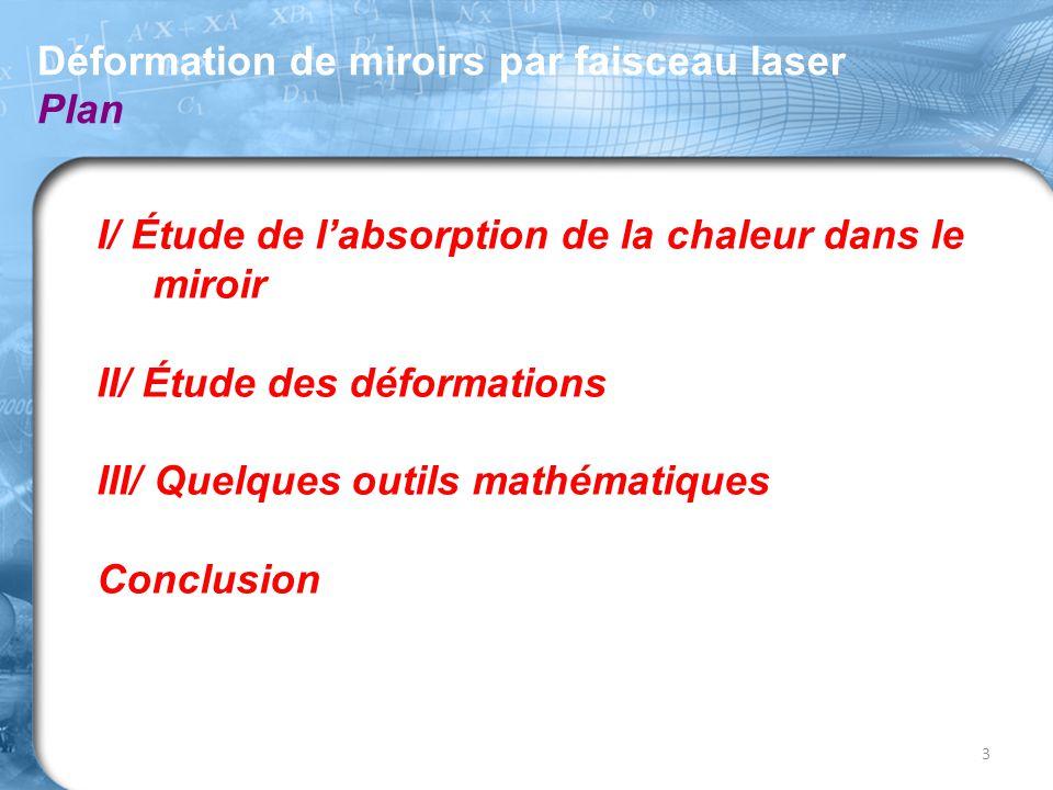 I/ Étude de l'absorption de la chaleur dans le miroir II/ Étude des déformations III/ Quelques outils mathématiques Conclusion Déformation de miroirs