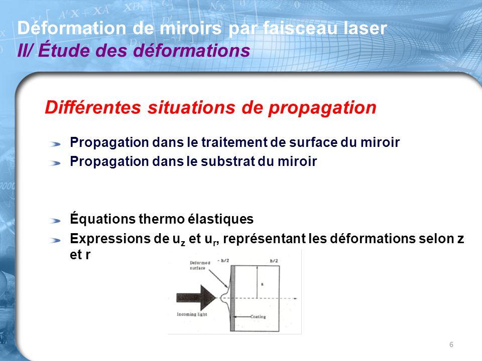Différentes situations de propagation Propagation dans le traitement de surface du miroir Propagation dans le substrat du miroir Équations thermo élas