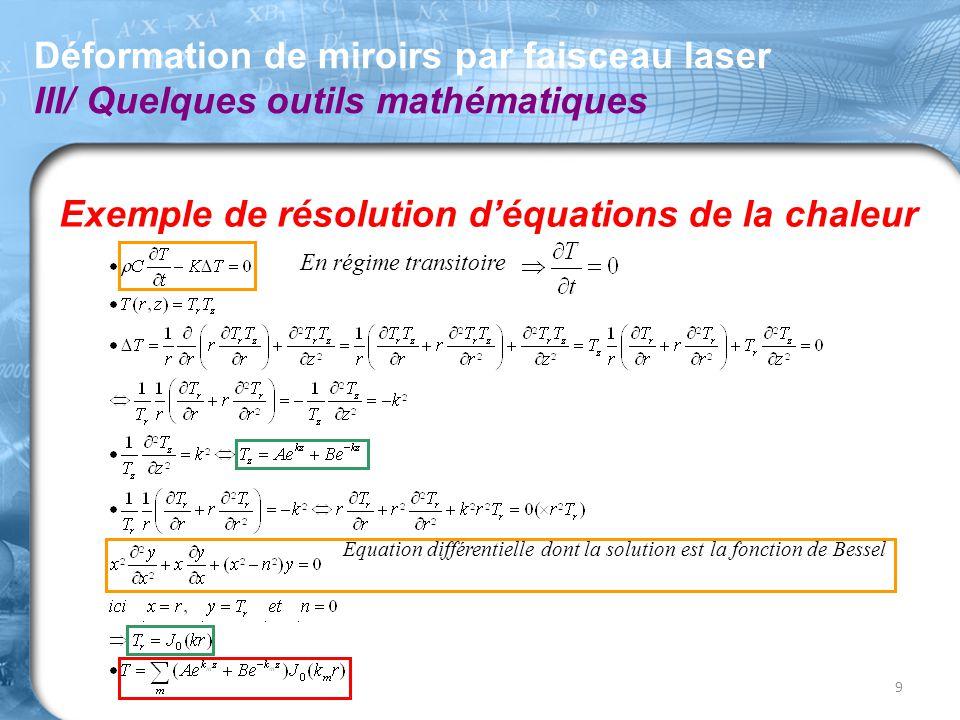 Exemple de résolution d'équations de la chaleur Déformation de miroirs par faisceau laser III/ Quelques outils mathématiques 9 Équation différentielle