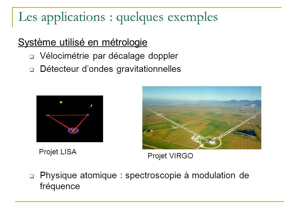 Les applications : quelques exemples Système utilisé en métrologie  Vélocimétrie par décalage doppler  Détecteur d'ondes gravitationnelles  Physiqu