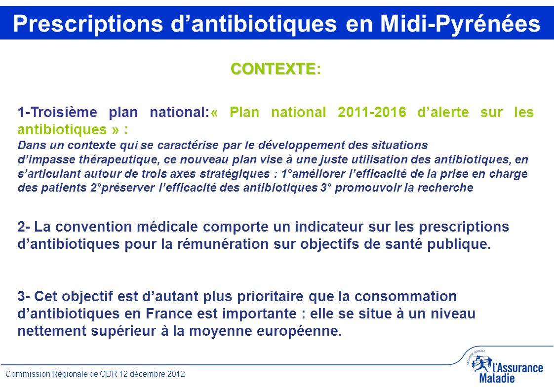 1 Commission Régionale de GDR 12 décembre 2012 CONTEXTE CONTEXTE: 1-Troisième plan national:« Plan national 2011-2016 d'alerte sur les antibiotiques »