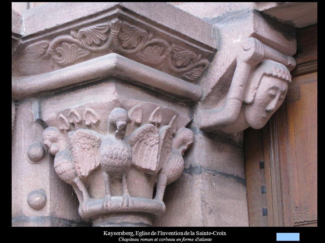 Kaysersberg, Eglise de l Invention de la Sainte-Croix Chapiteau roman et corbeau en forme d atlante