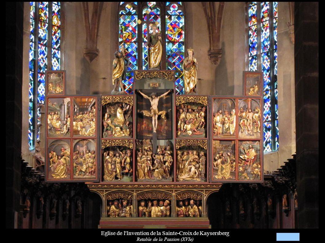 Eglise de l Invention de la Sainte-Croix de Kaysersberg Retable de la Passion (XVIe), Statues de St-Christophe, Ste-Hélène et Ste-Marguerite d Antioche