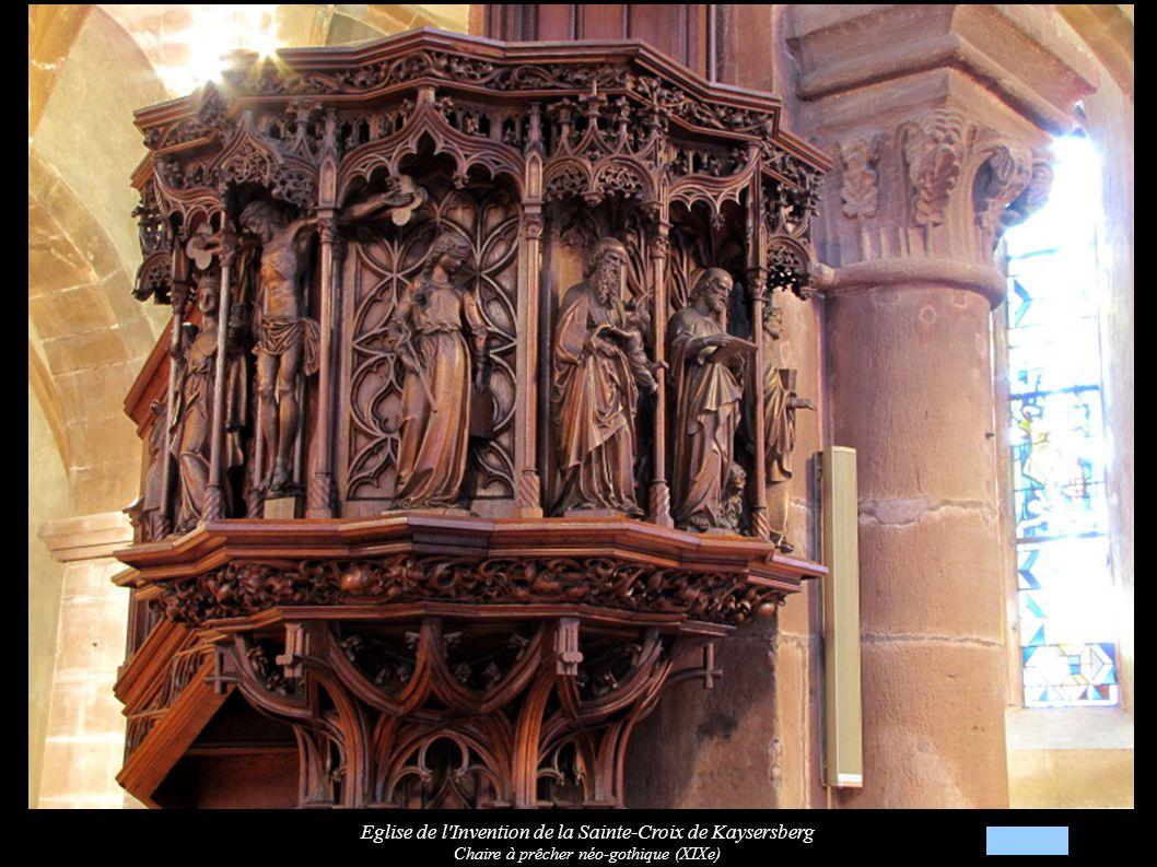 Eglise de l Invention de la Sainte-Croix de Kaysersberg Chaire à prêcher néo-gothique (XIXe): Crucifixion entre allégorie « Eglise et Synagogue »