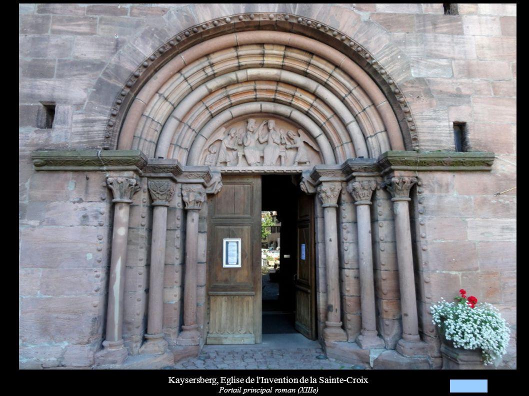 Kaysersberg, Eglise de l Invention de la Sainte-Croix Tympan du portail principal, Couronnement de Marie (XIIIe)