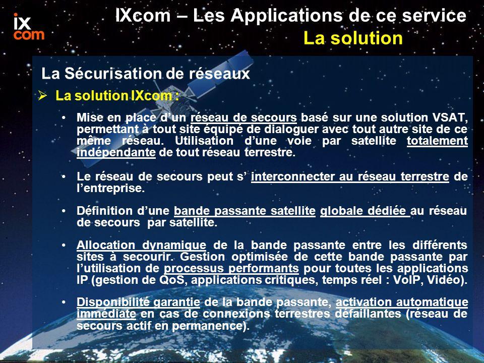 La solution IXcom : Mise en place d'un réseau de secours basé sur une solution VSAT, permettant à tout site équipé de dialoguer avec tout autre site de ce même réseau.