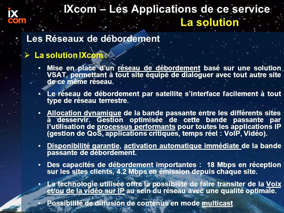IXcom – Les Applications de ce service La solution  La solution IXcom : Mise en place d'un réseau de débordement basé sur une solution VSAT, permettant à tout site équipé de dialoguer avec tout autre site de ce même réseau.