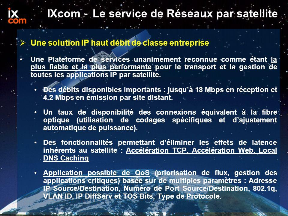 IXcom - Le service de Réseaux par satellite  Une solution IP haut débit de classe entreprise Une Plateforme de services unanimement reconnue comme étant la plus fiable et la plus performante pour le transport et la gestion de toutes les applications IP par satellite.