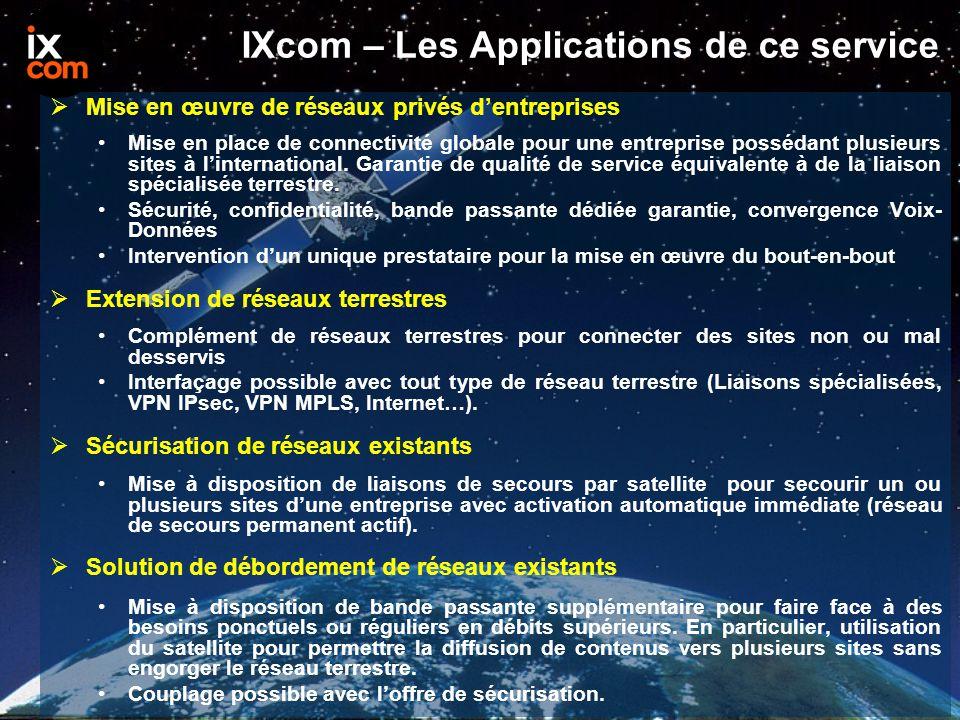IXcom – Les Applications de ce service  Mise en œuvre de réseaux privés d'entreprises Mise en place de connectivité globale pour une entreprise possédant plusieurs sites à l'international.