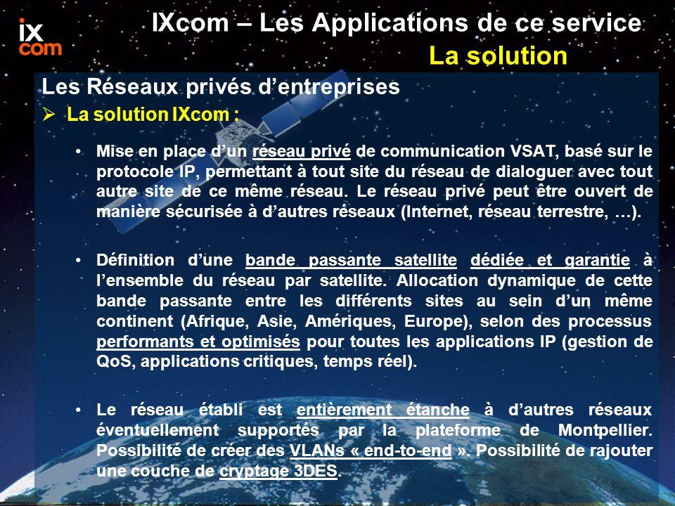 IXcom – Les Applications de ce service La solution  La solution IXcom : Mise en place d'un réseau privé de communication VSAT, basé sur le protocole IP, permettant à tout site du réseau de dialoguer avec tout autre site de ce même réseau.