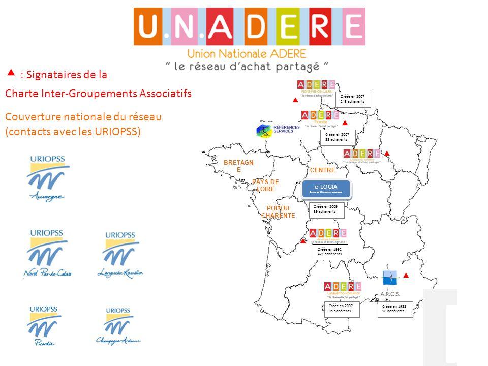 Couverture nationale du réseau (contacts avec les URIOPSS) ▴ : Signataires de la Charte Inter-Groupements Associatifs PAYS DE LOIRE Créée en 2007 243
