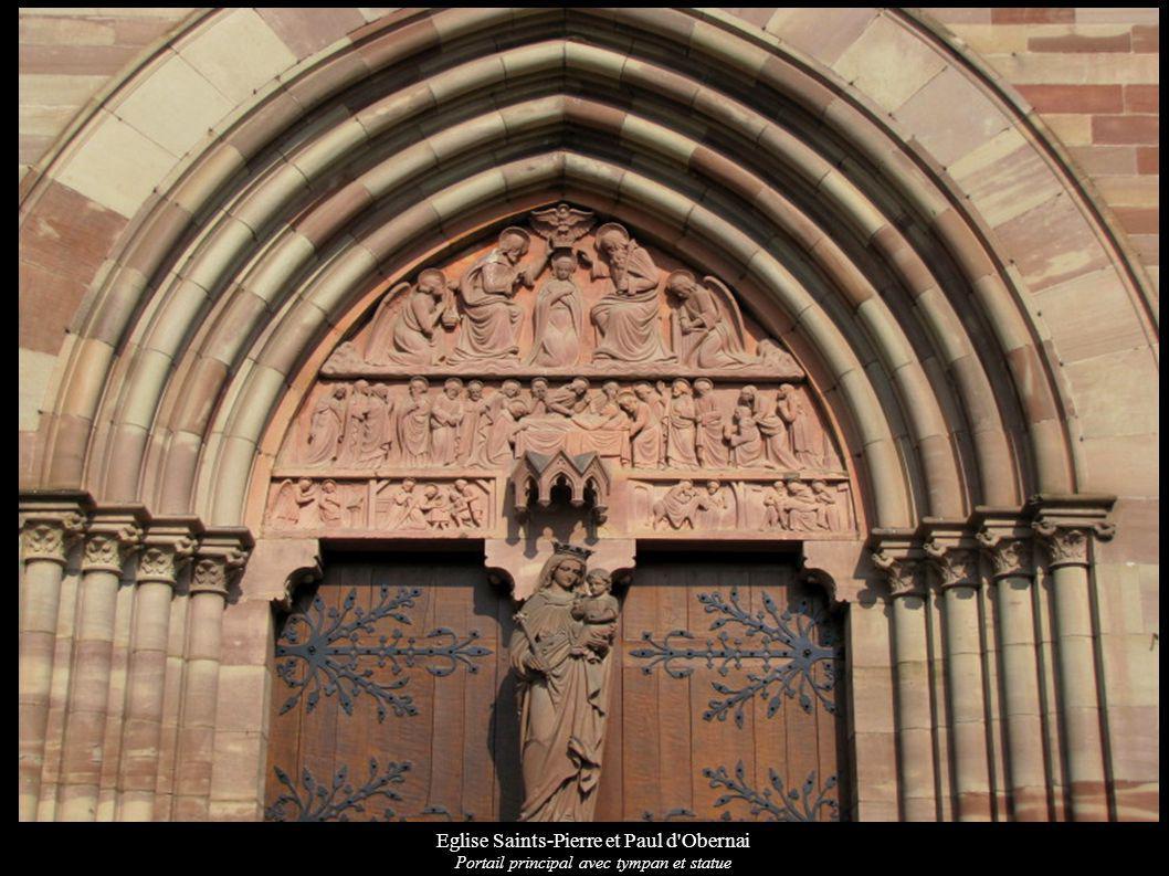 Eglise Saints-Pierre et Paul d'Obernai Portail principal avec tympan et statue