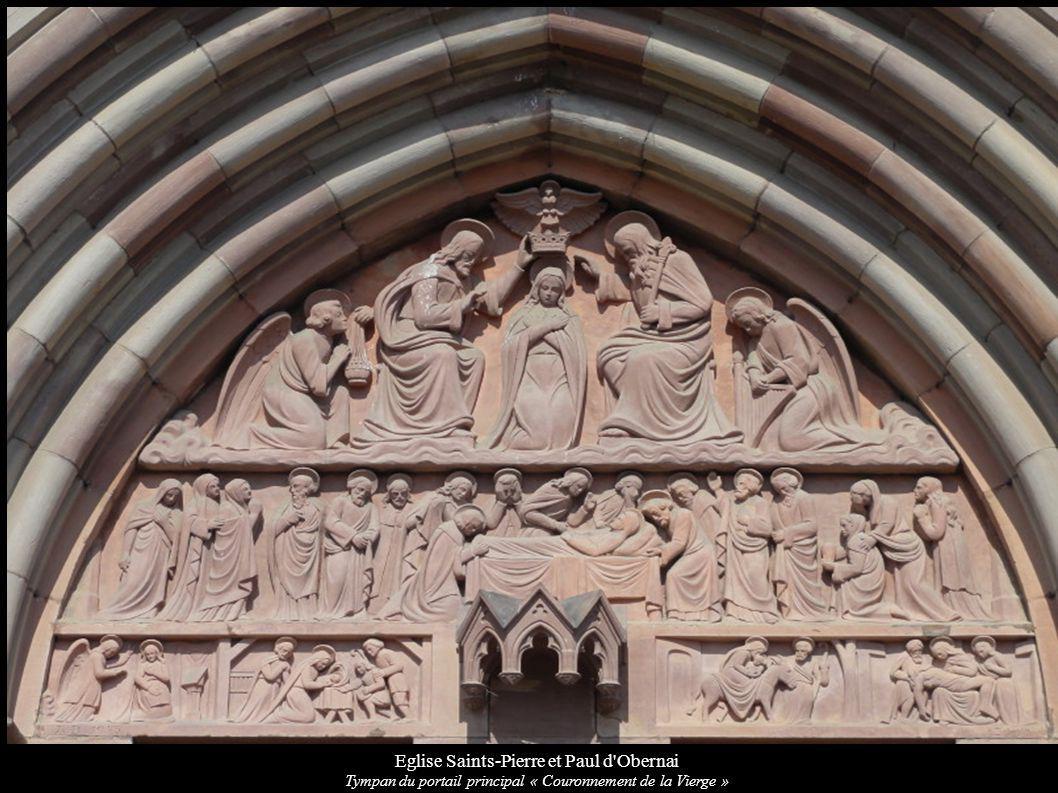 Eglise Saints-Pierre et Paul d'Obernai Tympan du portail principal « Couronnement de la Vierge »