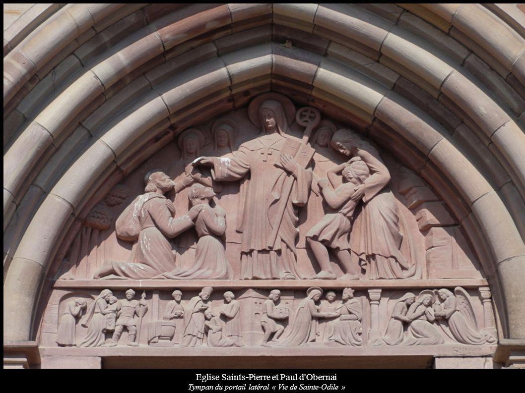 Eglise Saints-Pierre et Paul d'Obernai Tympan du portail latéral « Vie de Sainte-Odile »