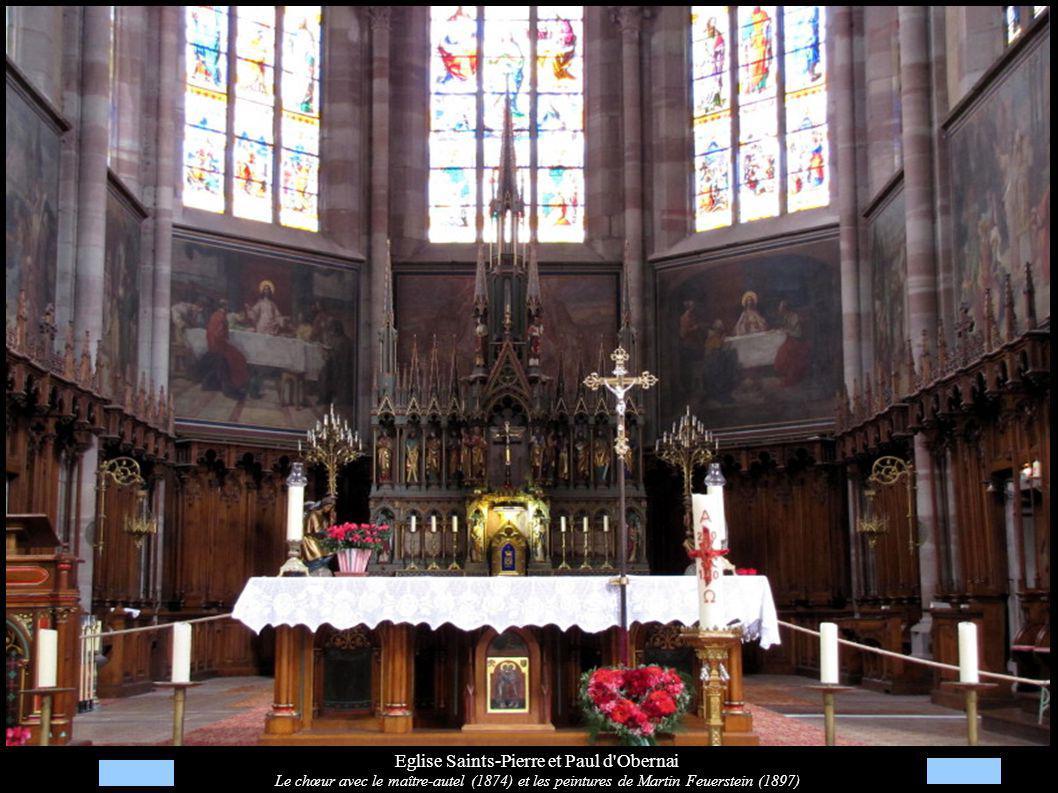 Eglise Saints-Pierre et Paul d'Obernai Le chœur avec le maître-autel (1874) et les peintures de Martin Feuerstein (1897)